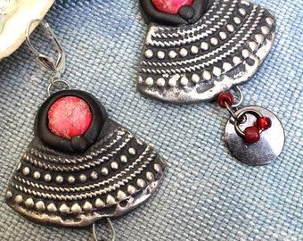 Ethnic dangles, design, jasper medallion, cherry-silver. Polymer, jasper, gun metal, glass beads. Unique creation.