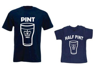 Pint and Half Pint, Matching Father Son, Daddy Birthday Gift, Father's Day Gift, Dad And Son T-shirts, Set Of Two