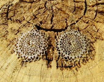 Mandala AUM Brass Earrings