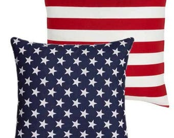 American Flag Reversible Pillow Cover 12x16 18x18 20x20, Patriotic Pillow, Stars and Stripes Pillow, Red White and Blue, July 4th Decor,