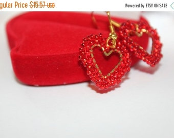SALE 25% Heart Valentine gift Romantic Earrings love red heart Valentines Day Gift heart dangle earring heart jewelry love jewelry