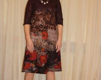 SALE! Nunofelted dress, felted dress, silk - wool dress