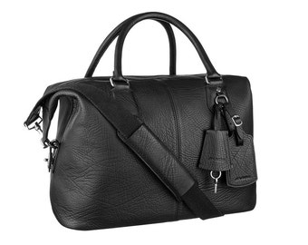 Real Leather Duffle / Duffel Bag /Cabin Luggage -Black Buffalo Leather Duffle Weekend Holdall Travel Gym Bag For Men or Women