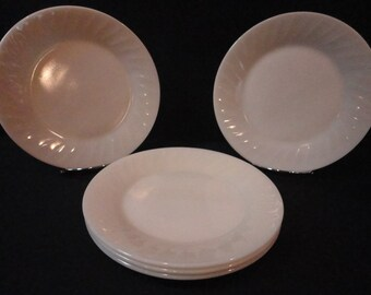 "Vintage Fire King Ovenware Restaurant Heavy Ivory Swirl 9"" Plates"