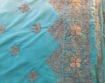Light Blue Sari, Beautiful Tiffany Blue Ombre Saree, Gold Embroidery, Light Tiffany Blue sari, Gorgeous and flowy fabric