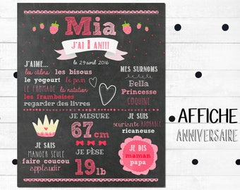 """Poster first anniversary personalized """"Princess and strawberry"""" _FICHIER numerique_fete 1 year baby, pink, slate table, Blackboard"""