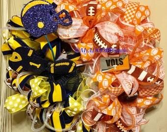 House Divided Sports Wreath, Vols UT Wreath, West Virginia Wreath, Football Deco Mesh Wreath, University Tennessee University West Virginia