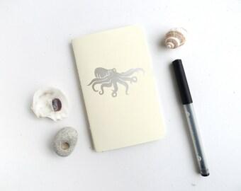 Octopus Jotter Notebook / Nautical Ocean Pocket Journal / Plain or Graph Paper