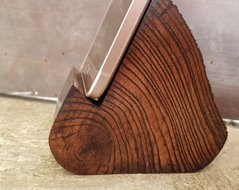 Log phone holder \ tablet holder made of ash wood