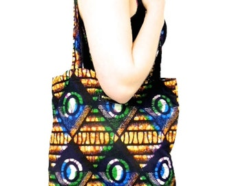Handmade African Tote Bag, African Print Bag, Cotton Tote Bag, African Shopping Bag, Shoulder Bag, African Fabric, A4 Folder