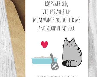 DIY For Him Birthday Card Printable Dad UK Funny Cat Husband