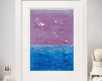 Giclee Print of Landscape Abstract Painting, Abstract Fine Art Print, Blue, Violet, Cyan,Small Painting Print, Modern Home Wall Art, A4 size