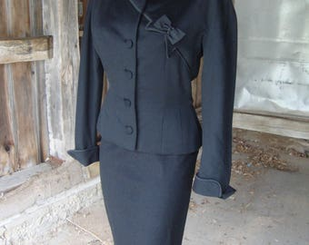 Vintage 1950's Black Wool Suit by Dan Millstein - Paris - XS-S