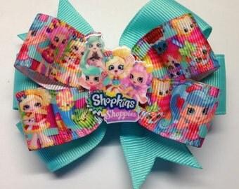 "Shopkins Aquamarine 3"" Layered Boutique Hair Bow Alligator Clip"