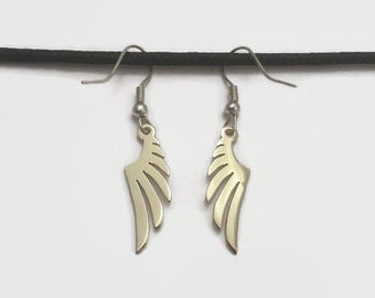 Wing Fish Hook Dangle Earrings in Brass or Copper - Take wing and fly with cool & unique nature inspired jewelry