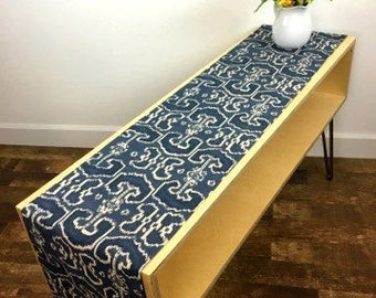 """Navy and Oatmeal Batik Pattern Table Runner - 12"""" Wide x 69"""" Long"""