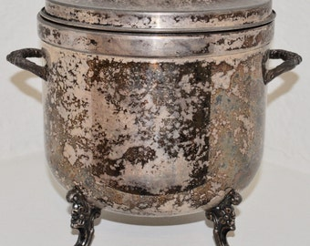 Vintage Silver Ice Bucket. Antique Silver. Mid Century.