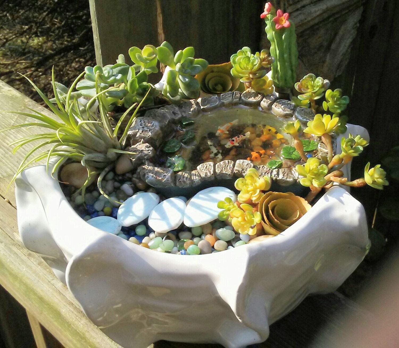 Wildlife Pond Surrounded By Pebbles: Zen Garden W/ Koi Pond Succulent Cuttings Sleek Modern