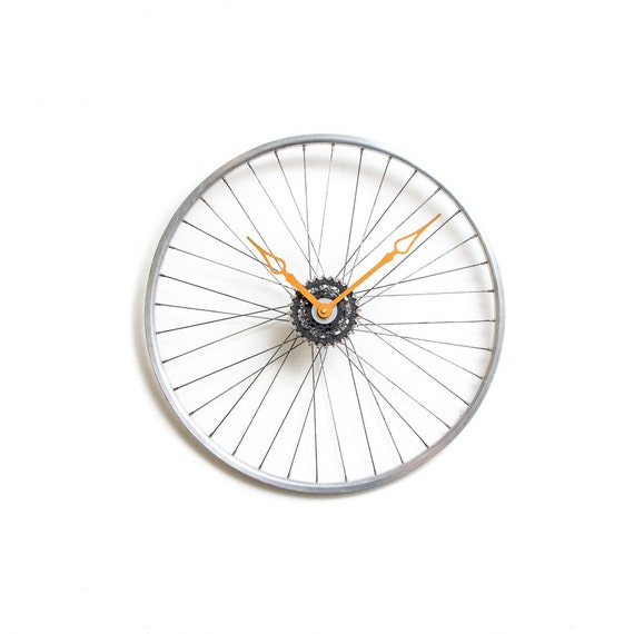 Bicycle wheel clock bicycle wall clock large wall by for Bicycle wheel wall art