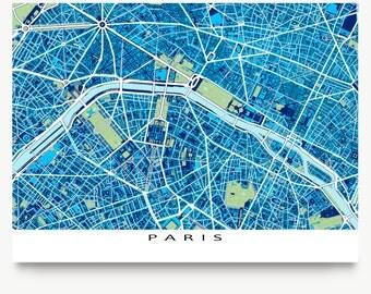 Paris Art Print, Paris Map, City Map of Paris France, Blueprint