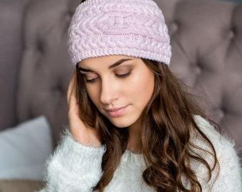 Winter Headband, Pink Knit Headband, Turban Headband, Knit Winter Headband, Knitted Head Cover, Knitted Ear Warmer, Soft Knitted Headband