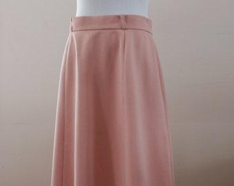 Wyndham Sportswear Light Peach/Coral Pink Vintage A Line Pin Up Rockabilly Midi Skirt Size Medium Made in Canada BTK-045