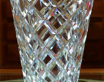 Crystal vase. Hand cut crystal vase from the mid century. French crystal vase.