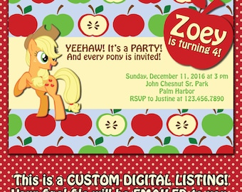 My Little Pony Applejack Birthday Invitation, DIGITAL