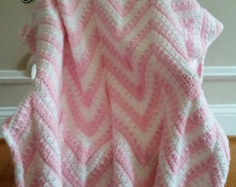 Pink and White Chevron Style Blanket/Afghan, Blanket/Afghan, Crib Afghan/Blanket, Toddler Blanket/Afghan, Baby Shower Gift, Gift under 50