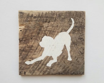 Playful Pup Silhouette (white) // Reclaimed Wood Sign