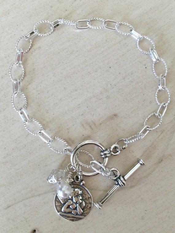 Raphael's Angels & Swarovski Crystal Charm Bracelet, Sterling Silver