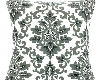Black Gray White Throw Pillow Covers, Cushions, Couch Pillows, Decorative Pillow, Damask, Cecilia Bed Euro Sham Throw, One or More All Sizes