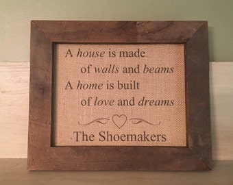 Personalized Home Print, Personalized Housewarming Print, Custom Burlap Print, Housewarming Gift, Anniversary Gift, Wedding Gift