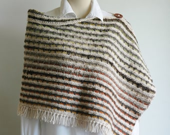 Thick woollen striped poncho in earthy colours - ready to ship