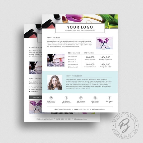 3 Page Media Kit Template 05   Ad Rate Sheet Template   Press Kit Template    Pitch Kit   Media Kit Template