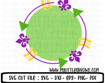 Mardi gras svg - mardi gras circle frame svg - SVG, DXF, EPS, png Files for Cutting Machines Cameo or Cricut  - mardi gras monogram svg
