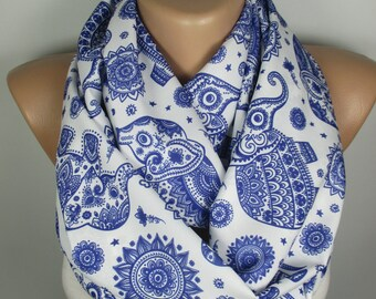 Elephant Scarf Circle Scarf Animal Scarf Infinity Scarf Elephant Print Scarf Fall Winter Fashion Accesories Christmas Gift For Her For Women