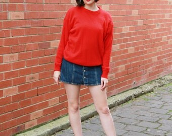 Vintage 1970s Red ANGORA Sweater / Made in ITALY / Wool Sweater / Red Sweater / S/M/L