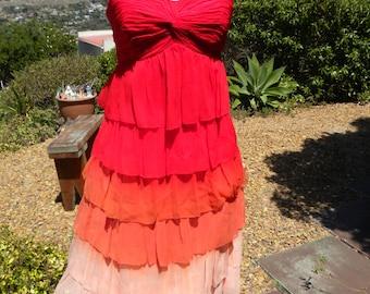Stunning lobg red orange layered silk frill dress, vintage, size uk 12 usa 10, boho hippie summer