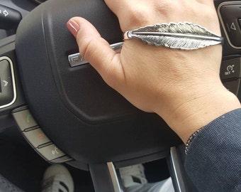 glam boho silver feather palm cuff bracelet, 925 sterling silver