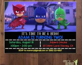 PJ Masks Birthday Party Invitation  - Digital File - Printable - Superhero PJ Masks Invite - Amaya/Owlette - Connor/Catboy - Greg/Gekko