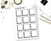 8010 // Hand Drawn Square Box Bullet Journal Stickers // Planner Stickers