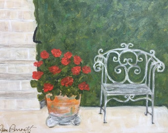 "Original Painting  ""Garden Bench & Geraniums"".  11 x 14 canvas.  ***Free Shipping!***"