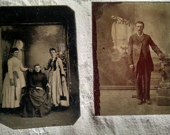 Two Different Tintypes, 3 Women, Mom and Daughters, and a Single Man
