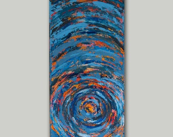 Acrylic Painting, Abstract Art, Sunset Painting, Blue Art, Orange Art, Swirling, Circle Art, Contemporary Art, Home Decor, 10x20 canvas