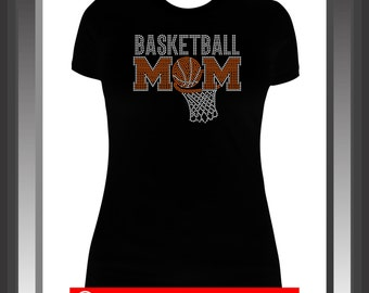 Basketball Mom Bling Shirt, Basketball Mom Rhinestone (2 color) Shirt