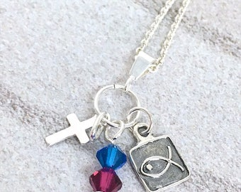 Confirmation gift, gift for goddaughter.  Sterling silver cross, fish charm, blue and red Swarovski crystals, sterling silver belcher chain.