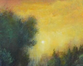 Sunset painting modern art original landscape oil painting sunset contemporary landscape  by Don Bishop