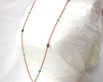 Long Copper Necklace - Copper Chain Pendant - Chalcedony Necklace - Copper Filigree - Crystal Pendant - Aqua Chalcedony - Copper Medallion