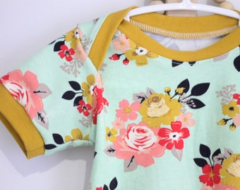 6 months baby shirt - short sleeves - flower / turquoise / mustard accents